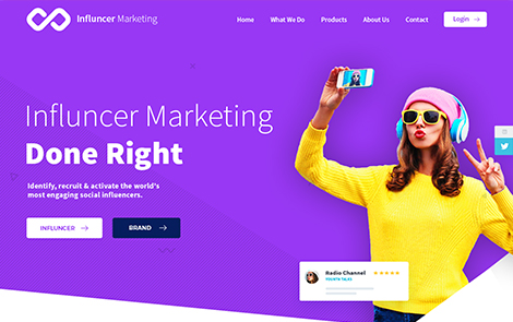 Landing page design for Influence Marketing