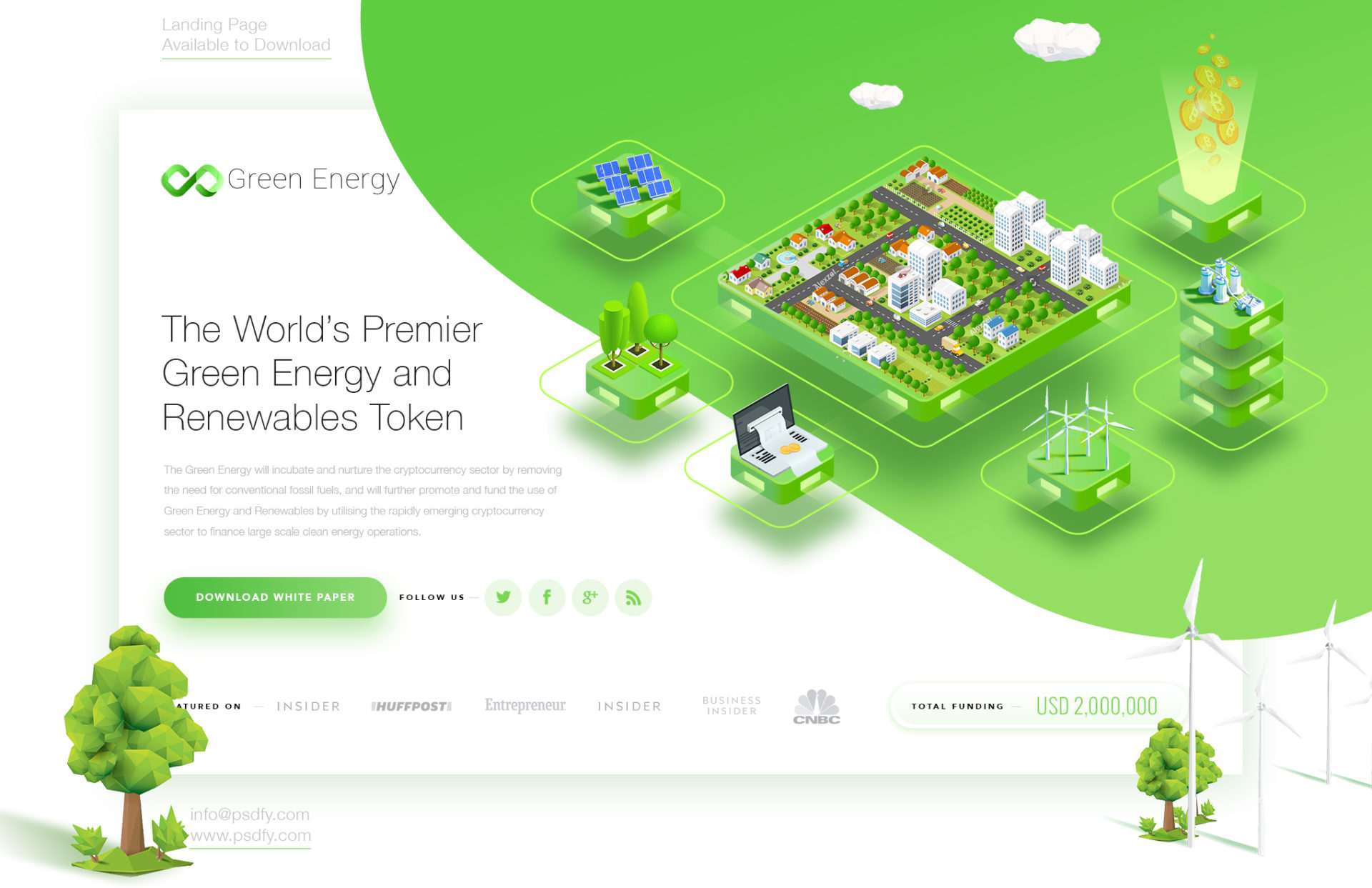 Green Energy Blockchain Landing Page